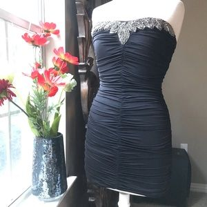 Slinky sexy shirred slimming dress